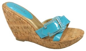 Ladies Lovely Teal Blue Slip On Wedge Heels Sandals