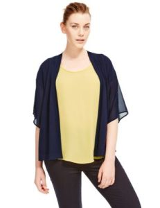A jacket or cardigan sitting wide over the bust also both widen and enlarge the bust.